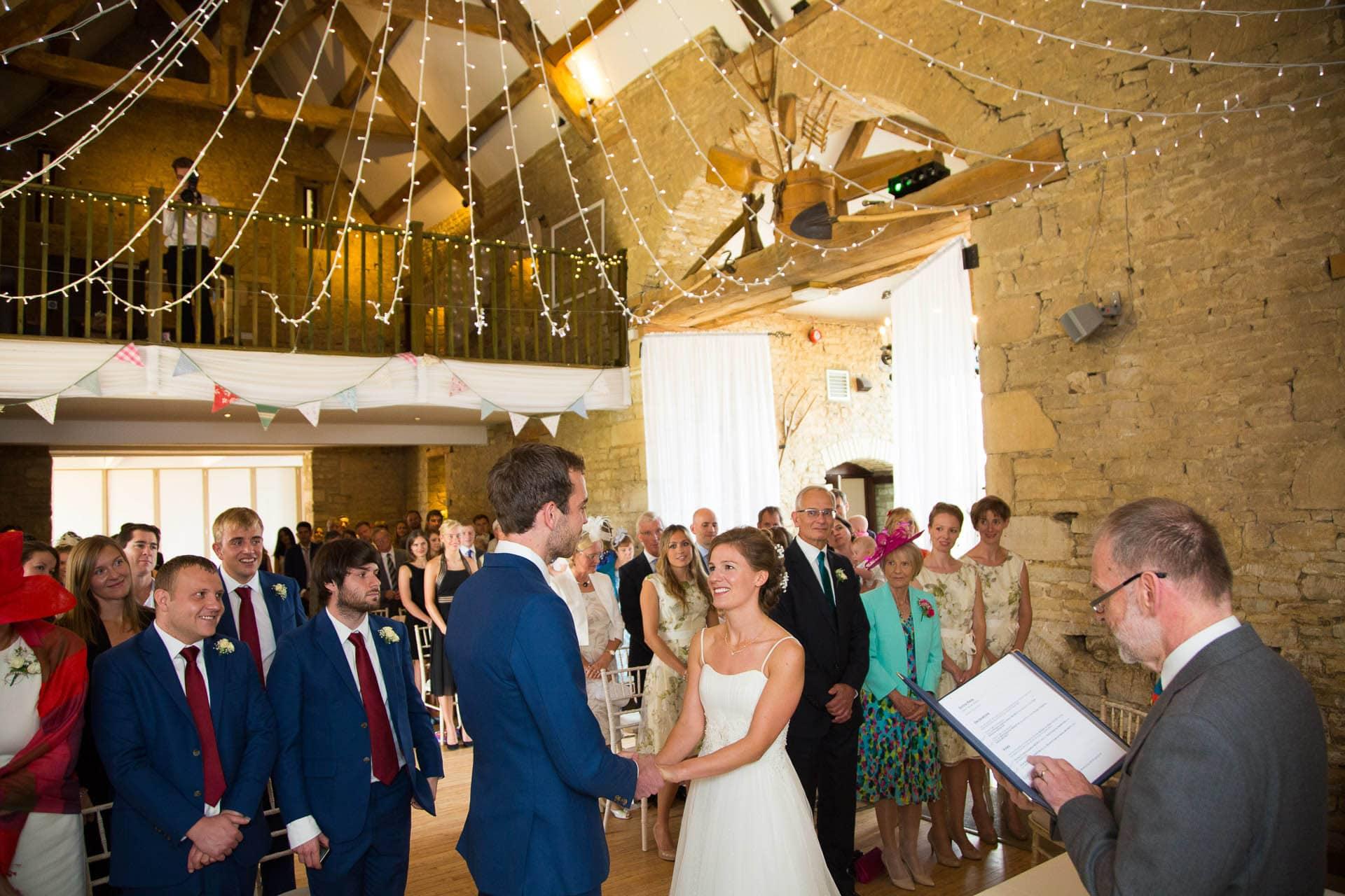 great tythe barn wedding ceremony