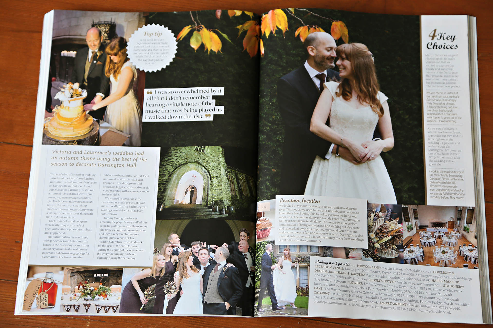 dartington hall wedding in bridal magazine