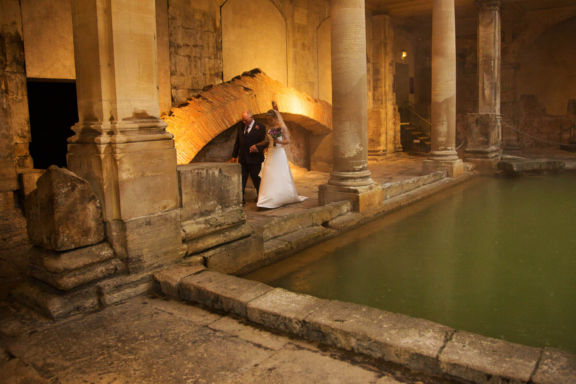 sunrise ceremony roman baths wedding