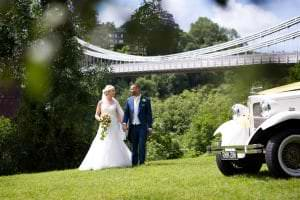 suspension bridge wedding photos