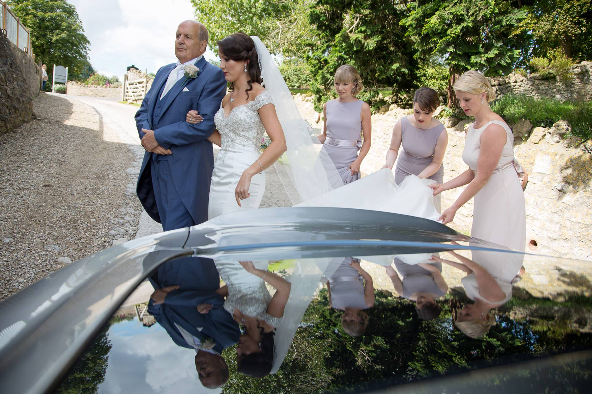 bride arrival at priston mill