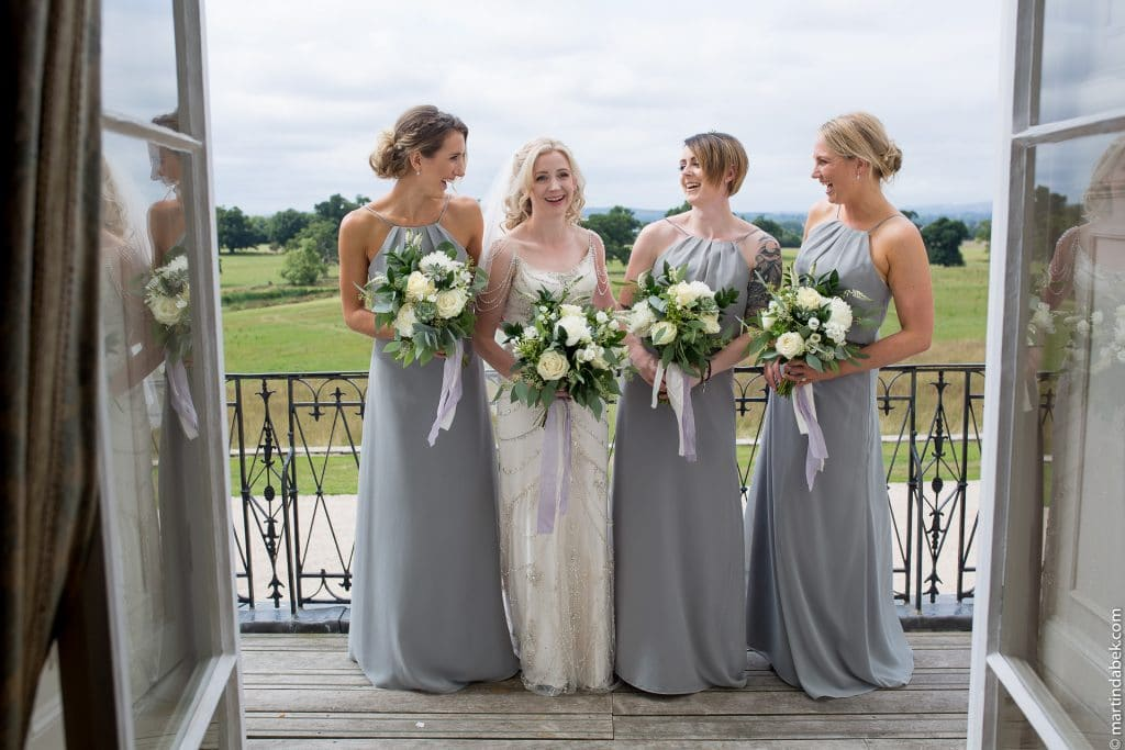 bride and bridesmaids at Rockbeare manor