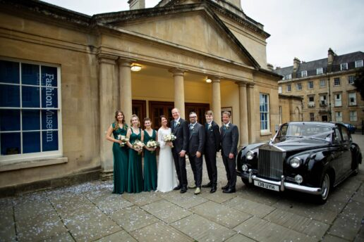 bridal party in front of bath assembly rooms
