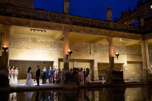 wedding sunset ceremony at the roman baths a