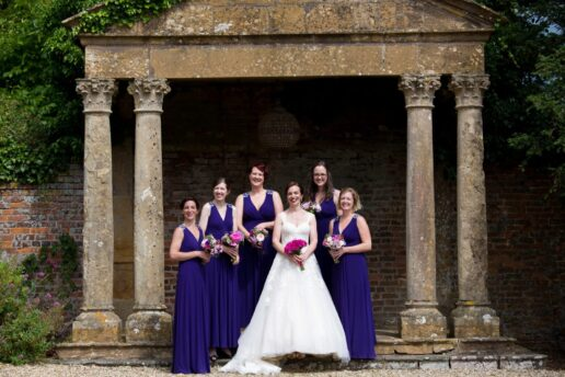 bridesmaids by the temple at brympton house
