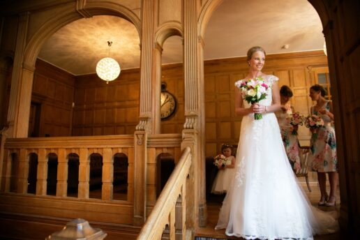 bride before the ceremony at coombe lodge