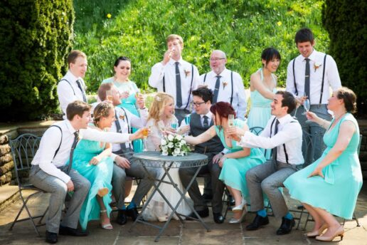 bridal party at coombe lodge