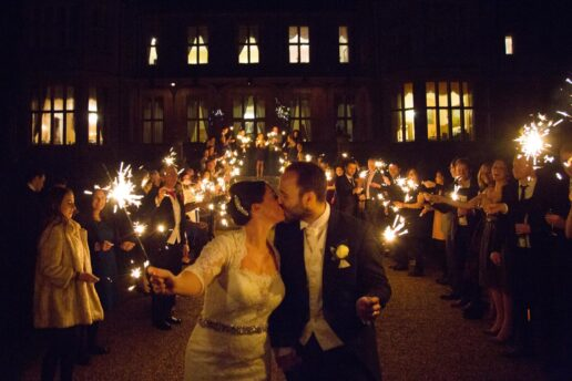 sparkler exit in front of orchardleigh house
