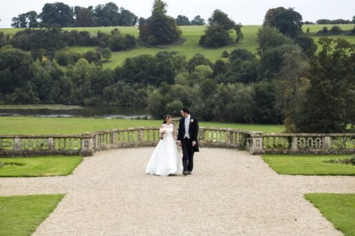 wedding couple at orchardleigh estate
