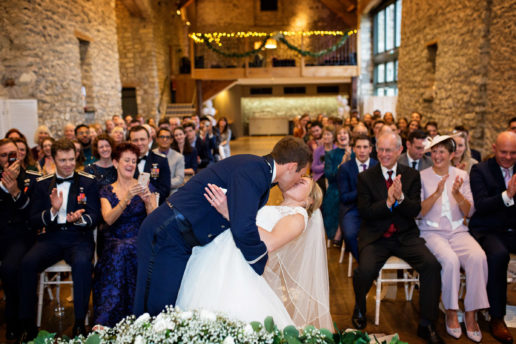 ceremony at tythe barn in priston mill