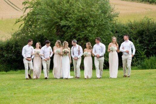 bridal party at priston mill