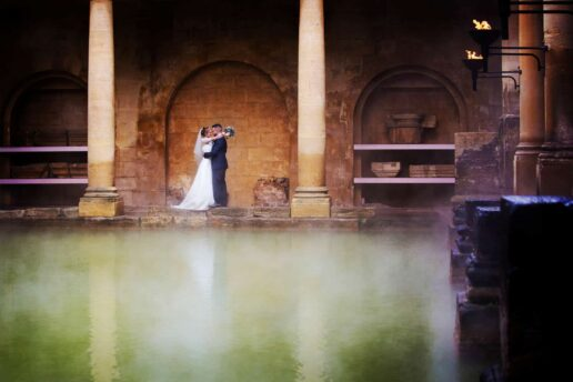 bath wedding photographer capturing wedding couple at the roman baths