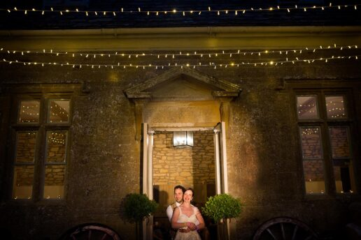 wedding couple at the old stables at brympton house