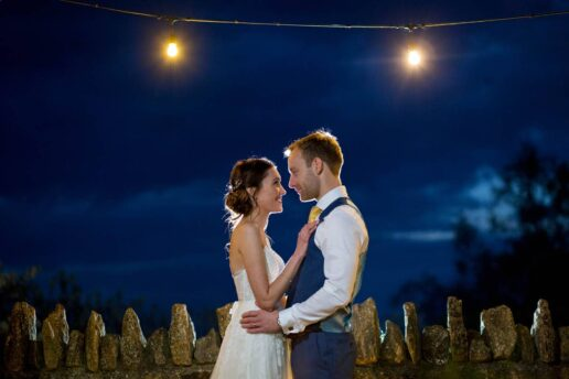 bride & groom and twilight hour at elmore court