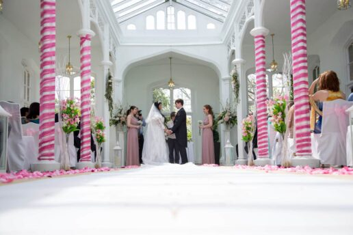 wedding ceremony at the orangery at st audries park
