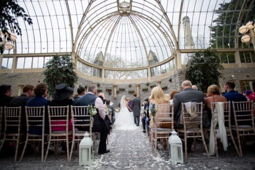 bride and groom during wedding ceremony at orangery at de vere tortworth cort