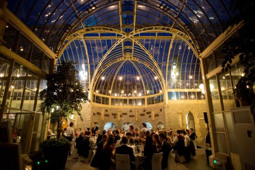 orangery at de vere tortworth court during wedding reception at twilight