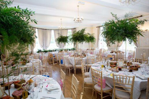 the ballroom at eastington park set up for wedding breakfast