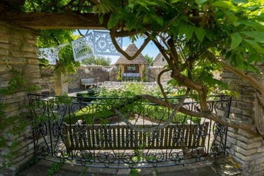 sunken garden ready for outdoor ceremony at winkworth farm