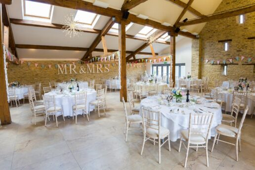 The Threshing Barn set up for wedding breakfast