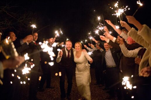 sparklers weddiing send off at pennard house in somerset