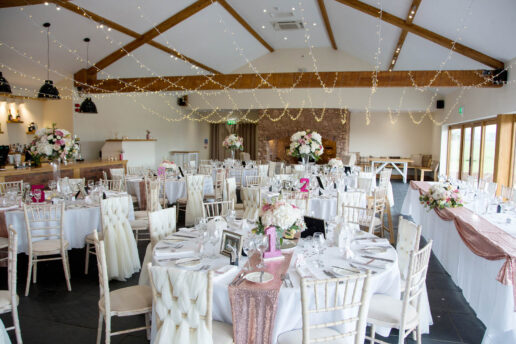 quantock barn set up for the wedding breakfast
