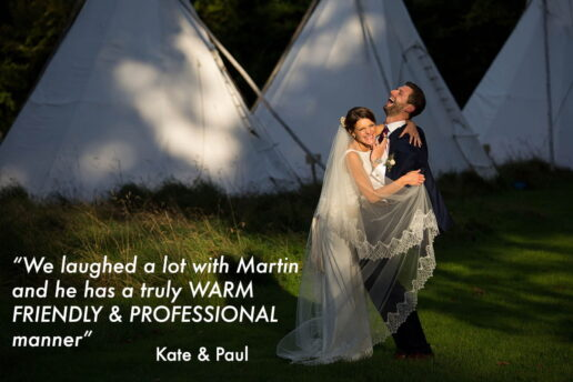 wedding couple laughing lit by the evening sun with tipi behind them at pennard house in somerset
