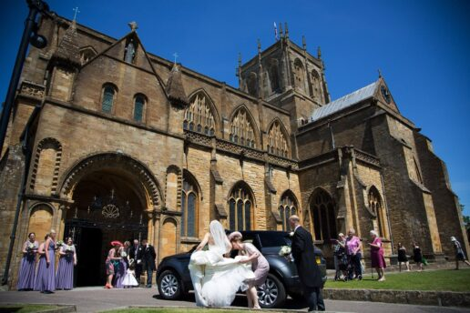 arrival of the bride to sherborne abbey